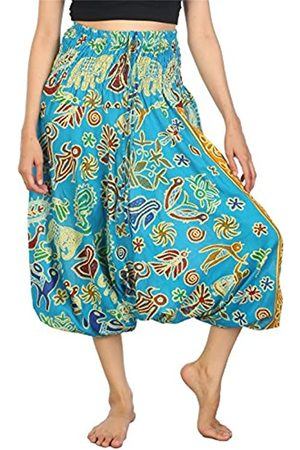 Lofbaz Damen Jumpsuits - Damen Haremshose Jumpsuit Elefantendruck 2 Hellblau M
