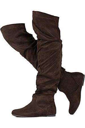 RF ROOM OF FASHION Damen Overknee Hohe Slouchy Stiefel, Braun (Brauner Su-no Reißverschluss (mittlere Wade))