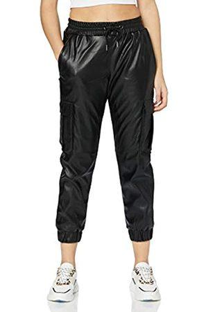 Urban classics Damen Ladies Faux Leather Cargo Pants Hose, Black
