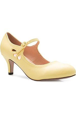 Olivia K Damen Ballerinas - Mary Jane Pumps für Damen, Kätzchen, niedriger Absatz, runder Zehenbereich, entzückende Vintage-Retro-Schuhe, einzigartiges Design mit seitlichem Ausschnitt, (Lemon Pu)