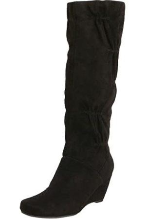 Kenneth Cole Damen Stiefel - Forever Damen Stiefel mit Keilabsatz, Schwarz (Schwarze Velourslederoptik)