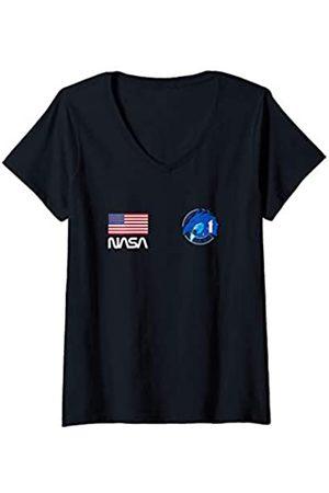 Nasa Damen Worm Dragon Spacecraft Crew-1 USA T-Shirt mit V-Ausschnitt