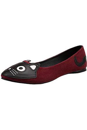 TUK Damen A9105l Wildleder Kitty Ballett Flach, Rot (burgunderfarben)