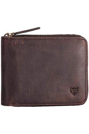 DONWORD Herren Handtaschen - RFID Herren Leder Zipper Brieftasche Zip um Brieftasche Bifold Multi Kartenhalter Geldbörse (Kaffee)