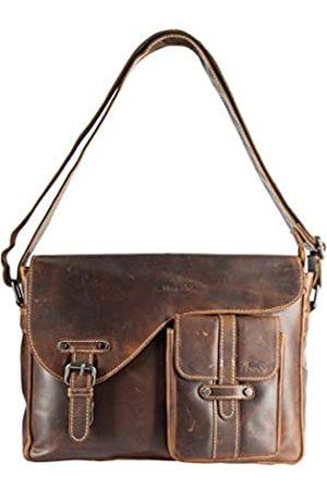 ARRIGO BELLO Damen Laptop- & Aktentaschen - Braune Kuriertasche Leder • Herren und Damen • Schultertasche • Aktentasche • Schultasche • Umhängetasche • Vintage Büffelleder - 34 x 7.5 x 23.5 cm