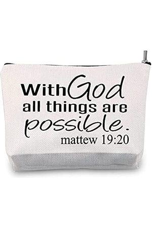 JXGZSO Kosmetiktasche mit Bibelvers, religiöses inspirierendes Geschenk mit Gott All Things Are Possible, motivierende
