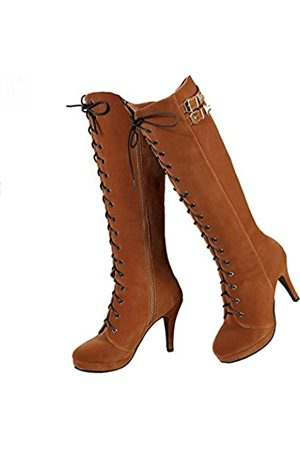 GETMOREBEAUTY Damen Overknees - Damen Stiefel mit Schnalle, Wildleder, mit Reißverschluss, kniehohe Stiefel