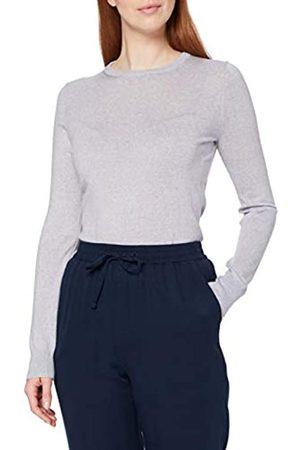 MERAKI Amazon-Marke: Merino Pullover Damen mit Rundhals, Grau (Light Grey Marl), 40