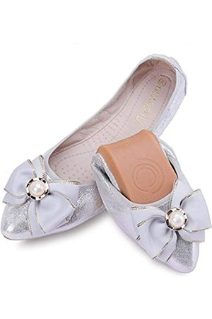 Anxle Damen Ballerinas - Damen Faltbare Ballerinas Casual Strass glitzernde Hochzeit Ballerina Schuh Komfort Slip on Flache Schuhe, (2- )