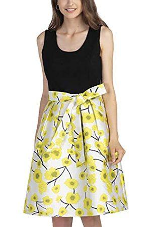 Apart Damen Sommerkleider - APART Elegantes Damen Kleid, Cocktailkleid, Sommerkleid, mit Jersey-Oberteil und Jacquard-Rock, Bindegürtel