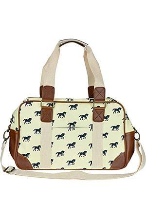 MISS LULÙ Damen Reisetasche aus Wachstuch mit Schmetterlingsmotiv, (Schlauch )