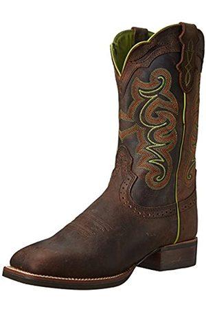 Justin Boots Damen Gummistiefel - Silver Collection Cattleman-Stiefel für Damen, 27,9 cm, breite, quadratische Doppelnaht, braune Gummi-Außensohle, Braun (Schokolade Puma Buffalo)