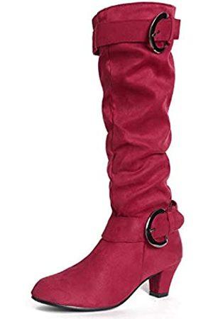 MORNISN Damen Overknees - Kniehohe Stiefel aus Wildleder für Damen, gekreuzte Schnalle, Riemen, Kitten-Heels, Schuhe, Slouchy, niedriger Absatz, Reitstiefel