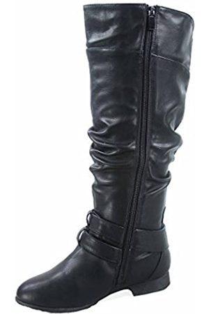 Top Moda Damen Overknees - Coco-20 Damen-Reitstiefel, runder Zehenbereich, niedriger Absatz, kniehoch, Reißverschluss