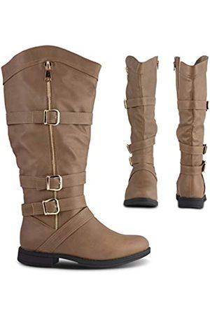 Twisted Damen Overknees - Amira Damen Stiefel mit Reißverschluss, breite Wade, niedriger Absatz