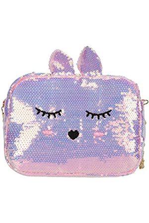 ZGMYC Mädchen Umhängetaschen - Kinder-Handtasche mit glitzernden Pailletten, niedliches Katzen- und Kaninchen-Design, Schultertasche, Handtasche mit Kette, (Lila Hase)
