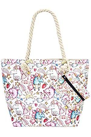 Alady Mädchen Umhängetaschen - Canvas Tote Strand Einkaufstasche Reise Reißverschluss Schultertasche mit Tasche Set, (Einhorn-3)