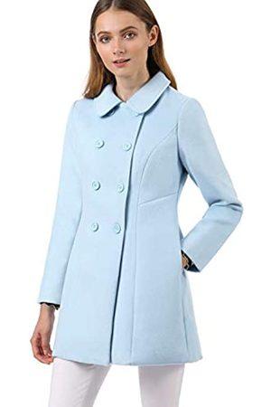 Allegra K Damen Mäntel - Damen Langarm Bubikragen Zweireiher Trenchcoat Mantel XS
