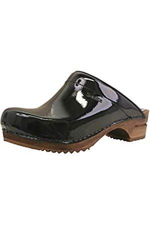 Sanita Classic offener Clog, Lackleder | Original handgemacht | Leder-Holzclogs für Damen