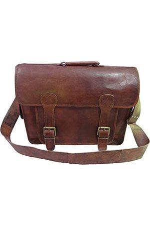 leather castle Herren Laptop- & Aktentaschen - Große Vintage Leder Aktentasche Messenger Schultertasche / 18 Zoll Laptop Satchel Büro College Taschen