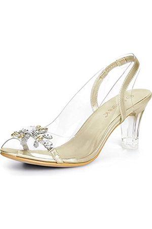 Allegra K Damen Sandalen - Damen Peep Toe Slip On Strass Blumen Sandalen High Heels 38