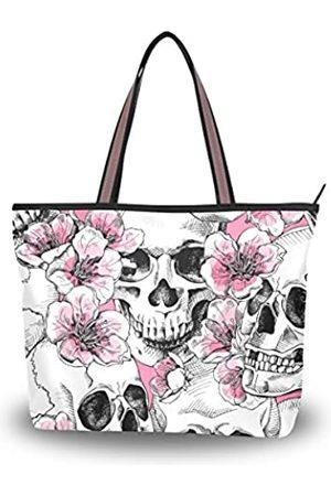 Top Carpenter Damen Laptop- & Aktentaschen - Laptop-Schultertasche mit Tragegriff, Totenkopf und Blumen mit rosa Kirschblüten, 39,9 x 29,2 x 8