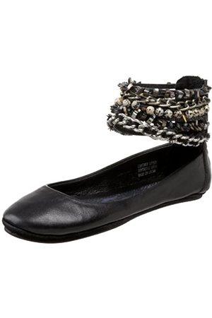 ZIGIny Damen Damen Aura Flat, (schwarzes Leder)