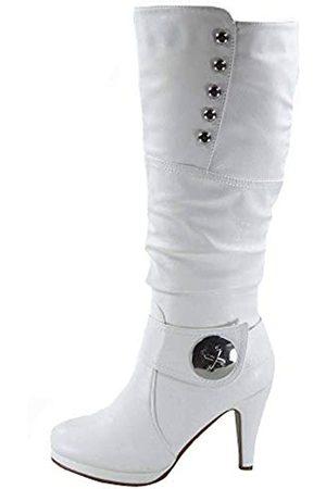 Generic Damen Pumps - FZ-Win-45 Damen Mode Runde Zehen High Heel Plateau Reißverschluss Kniehohe Stiefel, Wei�