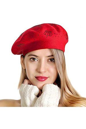 LADYBRO Strass Baskenmütze für Frauen 2 Schichten Wolle Französische Mütze Lady Winter Schwarz - - Medium