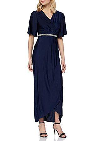 Mela Damen London-Pearl Belt Detail WRAP Front Maxi Dress Lssiges Kleid