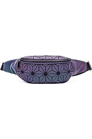 boshiho Geometrischer Rucksack für Damen, leuchtend, große Handtasche, Umhängetasche, holografisch, reflektierend, Geldbörse