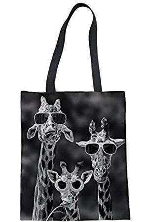 COEQINE Schwarze Handtasche mit Giraffenmuster, Segeltuch, für Reisen und Einkaufen, Umhängetasche für Frauen und Mädchen, ( / Giraffe)