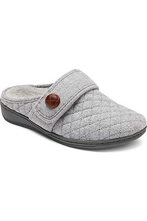 Vionic Women's Indulge Carlin Flannel Mule Slipper Light Grey Medium 12 US