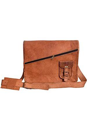 LLB Leather Arts 15 Zoll Vintage Messenger Notebook Schulter Crossbody Laptoptasche für Männer Frauen Handtasche Ziege Leder Unisex 046