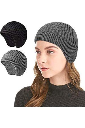 MUQU Strickmütze – warme Wintermütze mit Ohrenklappen aus weichem Stretchkabel für Herren und Damen - - Einheitsgröße