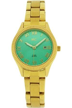 MC Damen Analog Quarz Uhr mit Edelstahl beschichtet Armband 51652