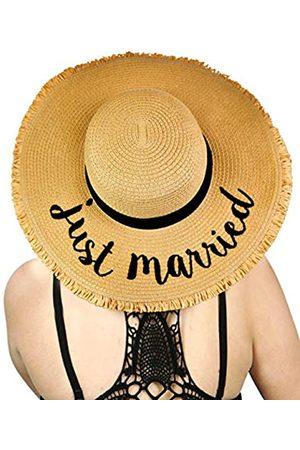 C.C Sonnenhut für Damen, aus Papier gewebt, knautschbar, Strand-Motiv, bestickt