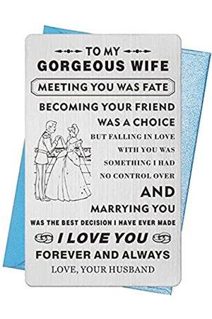 """TGCNQ Jahrestagskarten für Ehemann, Mini-Liebesnotiz, mit Gravur """"Proud to be Your Wife"""", Einlage für Jahrestage, Geschenke für Männer, Metall-Geldbörse, Postkarte für Ihn"""