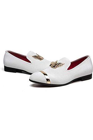 MEIJIANA Herren Loafers Klassische Samt Kunstleder Loafer Hochzeit Party Schuhe für Männer, (White-03)