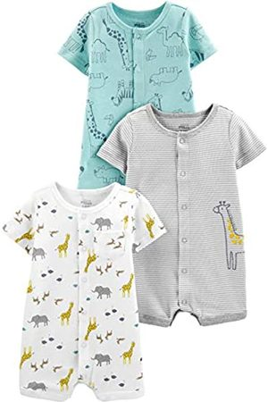 Simple Joys by Carter's 3-Pack Snap-up Rompers Infant-and-Toddler-Bodysuit-Footies, Giraffe/Bär, 24 Monate