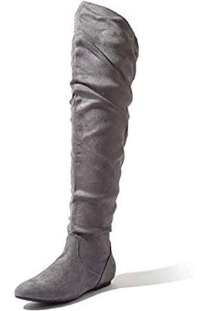 DailyShoes Damen Fashion-Hi Overknee Oberschenkel hoch flach Slouchly Schaft Low Heel Stiefel, ( SV)