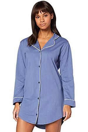 IRIS & LILLY Damen Langärmeliges Nachthemd aus Baumwolle, Blau (Dusty Blue), XL