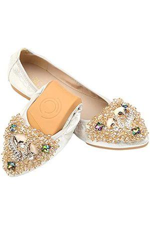 Tcesud Weiche und bequeme Ballettschuhe für Damen, faltbar, mit Strass, glitzernd, spitzer Zehenbereich, Schlupfschuhe, flache Schuhe