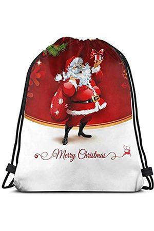 MSGUIDE Rucksack für Damen, Retro-Stil, Motiv: Weihnachtsbaum mit Kordelzug, wasserabweisend