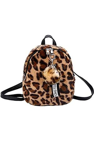 GOESUP Damen Mädchen Fashion Rucksack Plüsch Leopard Muster Kunstfell Rucksack Taschen Reise Handtaschen