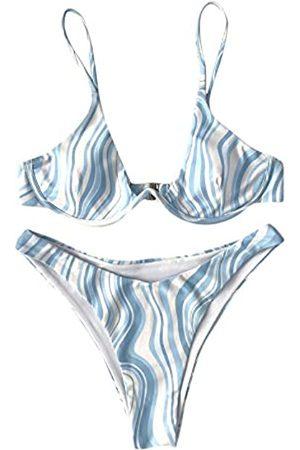 SweatyRocks Women's Sexy Bathing Suits Spaghetti Strap Floral Bikini Set Underwire Swimsuit S