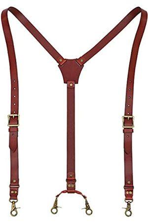 EURYNOME Leder-Hosenträger für Herren, glänzendes Echtleder, Y-Rückseite, verstellbare Gürtelschlaufe