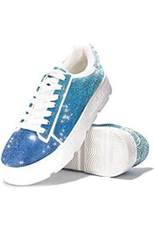 Cape Robbin Euro Plateau Sneaker für Damen, Mode Flatform Sneaker Schuhe für Frauen mit Faux Strass, Weiß