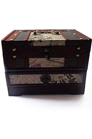 ISOTO Retro-Schmuckkästchen/Aufbewahrungsbox aus Holz mit Spiegel für Gilrs Freundin Frauen zum Muttertag