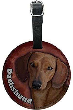 Graphics and More Graphics & More Dachshund Wiener Dog Pet Round Leather Luggage Id Tag Suitcase Carry-on